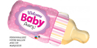Ballon 39 po - Biberon, Welcome Baby rose