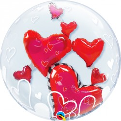 Ballon double bubbles 24 po - Coeur rouge